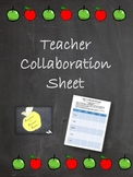 Teacher Collaboration Worksheet