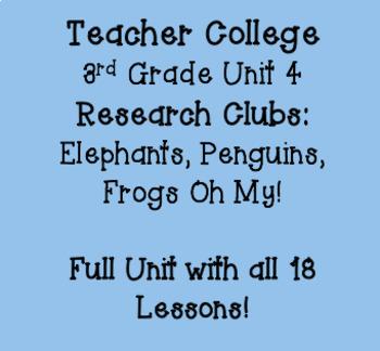 Teacher College 3rd Grade Unit 4 Research Clubs