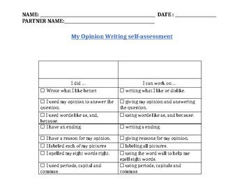 Teacher College - Opinion Writing Self-assement