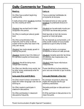 Teacher Communication-Academic Subjects (ENG-ESP)