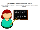 Teacher Communication Form