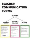 Teacher Communication Forms for Students, Resource Teacher