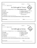 Teacher Communication Homework Alert in Spanish