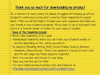 Teacher Conference Notes