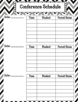 Teacher Conference Notes and Planner: Black Patterns