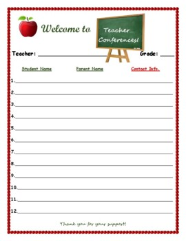 Teacher Conferences Sign-In Sheet! Back-to-School! ANY Subject or Grade Level!