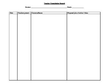 Teacher Consultation Record