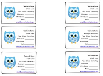 Teacher Contact Business Cards