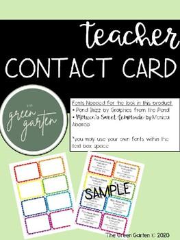 Teacher Contact Card