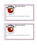 Teacher Contact Card/ Beginning of the Year/ Meet the Teacher