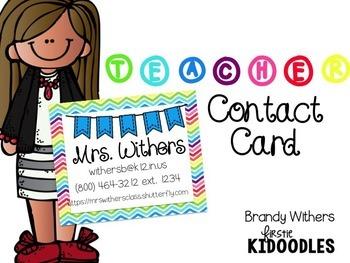 Teacher Contact Card {Editable}
