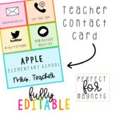 Teacher Contact Card   Editable