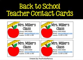 Teacher Contact Cards