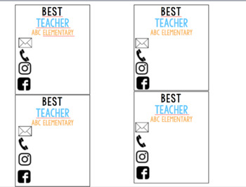 Teacher Contact Cards