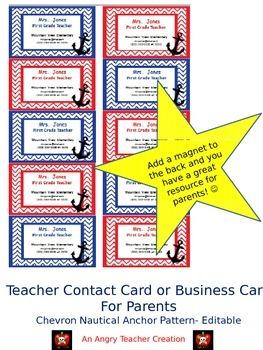 Teacher Contact Cards for Parents- Chevron Nautical Anchor Theme (Editable)