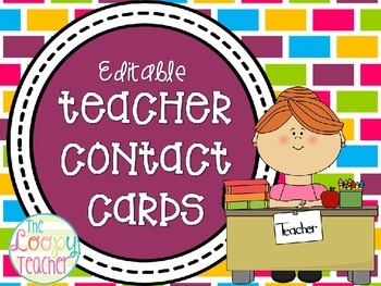 Teacher Contact Cards- Editable