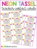 Neon Tassel Teacher Contact Business Cards - EDITABLE!
