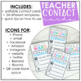 Teacher Contact Cards {editable}