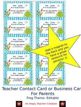 Teacher Contact Cards for Parents- Frog Theme (Editable)