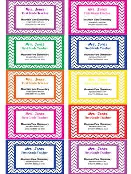 Teacher Contact Cards or Business Cards For Parents- Chevron Design (Editable)