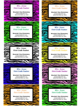 Teacher Contact Cards or Business Cards For Parents- Zebra Design (Editable)