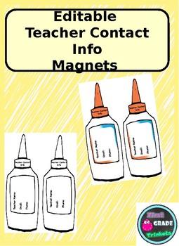 Teacher Contact Glue Magnet (Editable)