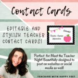 Teacher Contact Information Tags for Parents!  Editable!!!