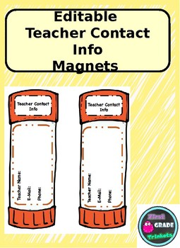 Teacher Contact Magnet (EDITABLE)