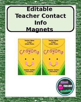 Teacher Contact Magnet (EDITABLE)