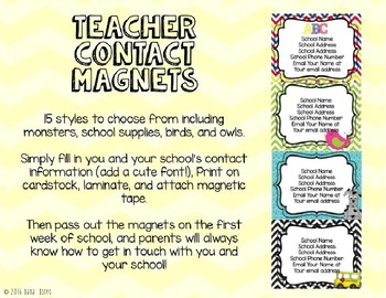 Teacher Contact Magnets