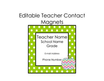 Teacher Contact Magnets