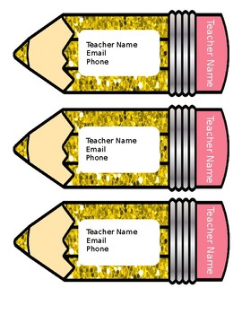 Teacher Contact Magnets / Cards Glitter Pencil Theme