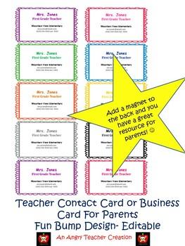 Teacher Contact or Business Cards- Fun Bumps Design (Editable)