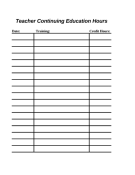 Teacher Continuiing Hours (template)