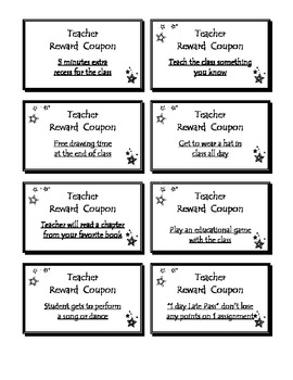Teacher Coupons and Behavior Management System