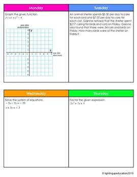 Teacher Created Math 10+ Bell Ringer Full Semester