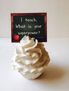 Teacher Cupcake Picks - Green Chalkboard