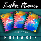 Teacher Daily Planner ⭐ Day Book Organizer ⭐ EDITABLE ⭐ Reflective & Ancedotal ⭐