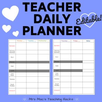 teacher daily planner editable by mrs mac s teaching hacks tpt