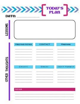 Teacher Daily Planning Sheet for 1 Class