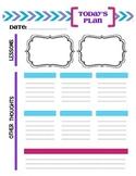 Teacher Daily Planning Sheet for 2 Classes Blank