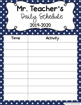 Daily Classroom Schedule Template (Editable - 6 Cute Design Schemes)