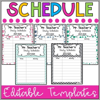 daily schedule template editable teaching resources teachers pay