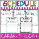 Daily Classroom Schedule Template (Editable - 6 Cute Design Schemes)