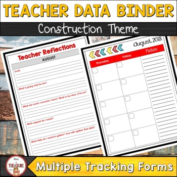 Teacher Data Binder (Editable) Construction Theme