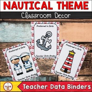 Teacher Data Binder (Editable) Nautical Theme