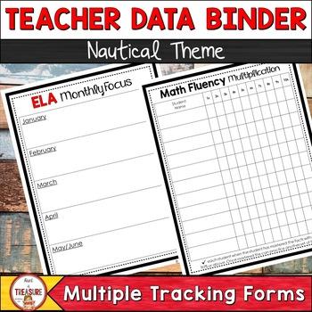 Teacher Data Binder Nautical Theme Editable