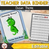 Teacher Data Binder (Editable) Ocean Theme Class Decor