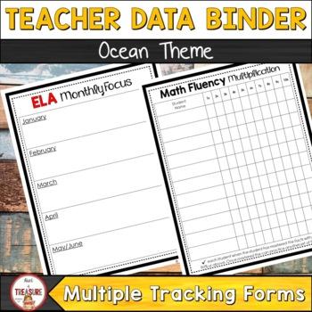 Teacher Data Binder (Editable) Ocean Theme Class Decor