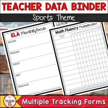 Teacher Data Binder (Editable) Sports Theme